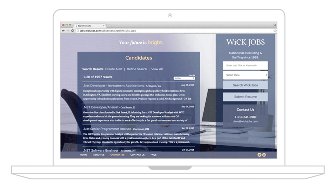 WickJobs website design