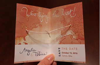 Angelia's Save the Date on the inside